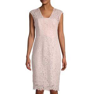 Shoshanna Hilda Dress Pink Lace Midi  Size 8